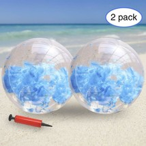 KOMIWOO Inflatable Beach Ball-Glitter Beach Balls Kids, Filled with (2pc... - $19.62