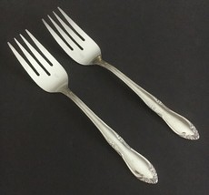 Two Salad Forks Oneida Custom Stainless Plantation Floral Scrolls 1989 - $9.87