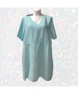 Flax Tee Shirt Linen Dress Pockets womens 3G XXXL 3X Green Stripe NWT - $88.00