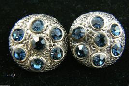 Vintage Silver Tone Metal Blue Crystal Round Clip On Earrings $0 Sh - $22.97