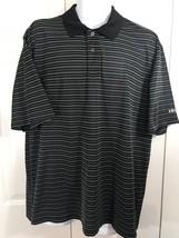 Izod Mens Golf Performance Polo Shirt Men's  XL Black White Stripes Shor... - $10.40