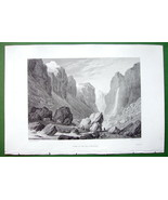 ALPS France Scenery in Valley of River Romanche - SCARCE 1836 Antique Print - $19.09