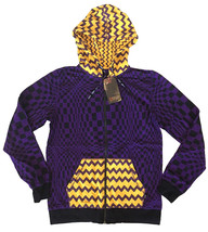 UGP Under Ground Products DIY Men's Purple Yellow Checkered Zip Up Hoodie NWT