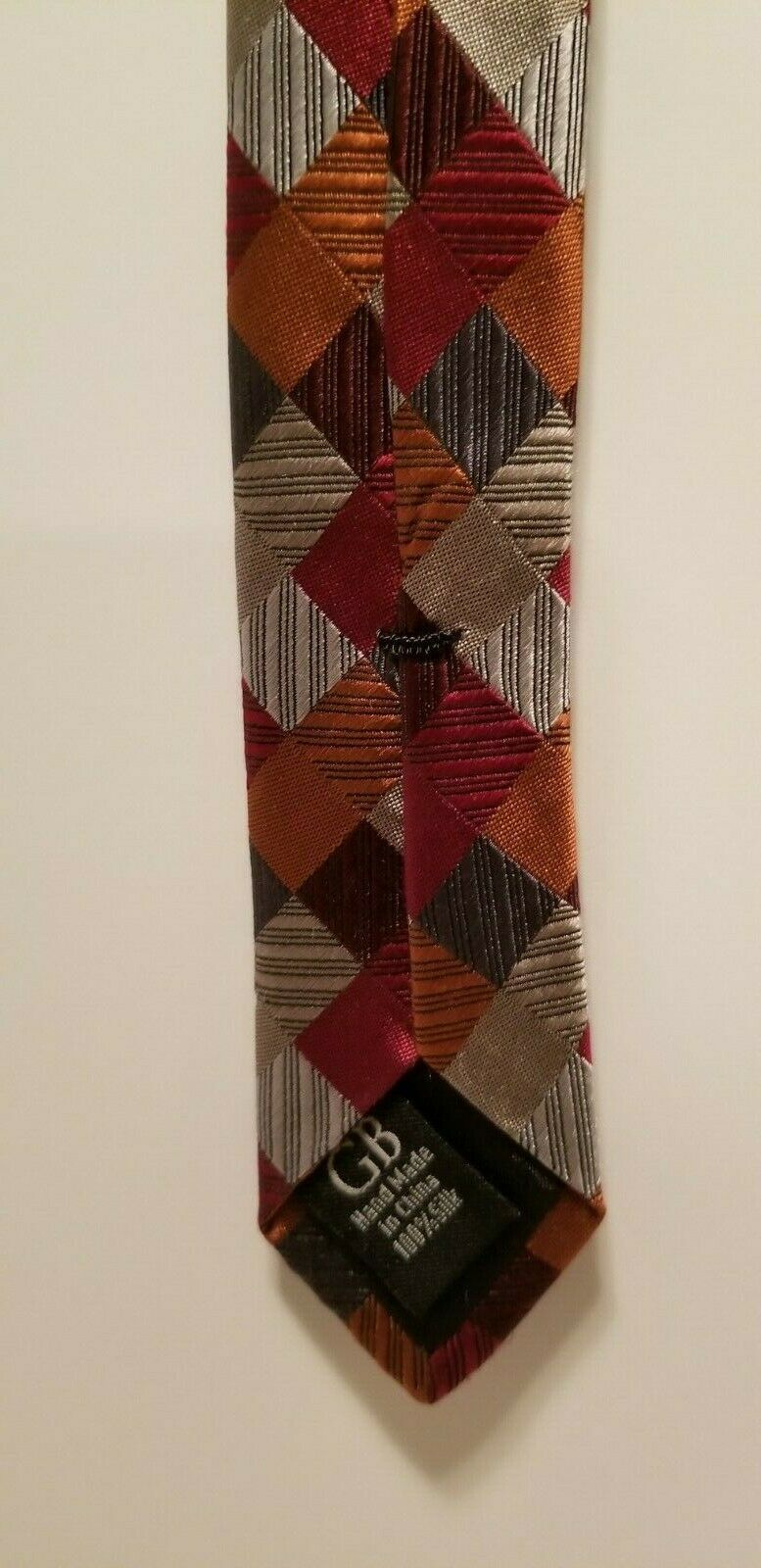 Sexy Geoffrey Beene 100% Silk Red Blue Silver Patchwork Diamonds Tie Necktie image 9