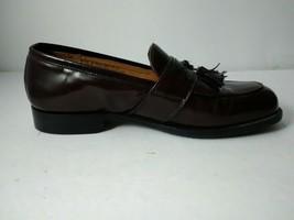 Bostonian Mens Wine Leather Slip On with Killtie Tassel Moc Toe Dress Shoes sz 8 - $29.17