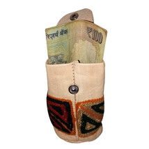 Hand Embroidered Genuine Real Leather Coin Pouch Pocket - $14.00