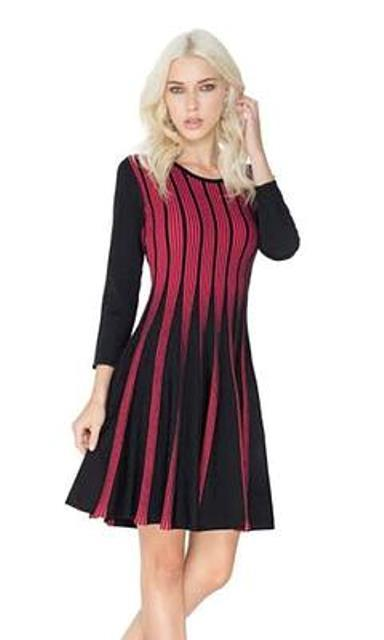 Adore 3/4 Sleeve Ruby Red & Black Striped Flare Dress