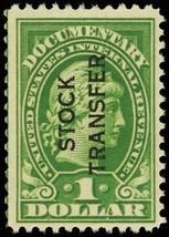 RD30, Mint VF NH $1 Stock Transfer Stamp Cat $50.00 - Stuart Katz - $35.00