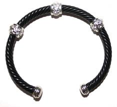 Dressy Adjustable Black Cuff Bracelet with Clear Crystal Silver Tone Acc... - $10.76