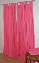 Pottery Barn Teen Set of 4 Bright Pink Sailcloth Tab Top Drapery Panels 52X84 - $89.07