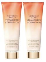 2 VICTORIA'S SECRET STRAWBERRIES & CHAMPAGNE FRAGRANT MOISTURIZING BODY ... - $29.65