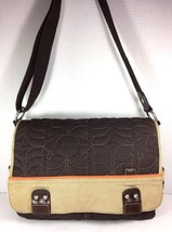Fossil Large Brown Tan Trim Quilted Fabric Crossbody Messenger Bag - $43.64