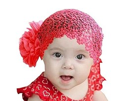 Beautiful Baby Girl Headband Cute Lace Flower Apparel Accessory Red (1~4Y)