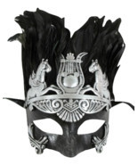 Men Silver Greek Roman Warrior Knight Caesar Masquerade Party Ball Feath... - €24,81 EUR