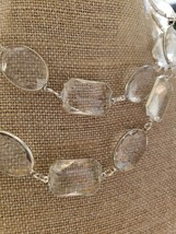 Vintage Clear Faceted Plastic Beads & Silver Tone Accents Choker Length Nice! - $24.75