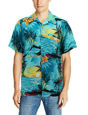Men's Tropical Button Up Hawaiian Aloha Revere Beach Casual Dress Shirt -  S