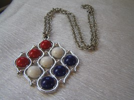 Vintage Sarah Cov Marked Ridged Open Link Silvertone Chain with Red White & Blue - $12.19
