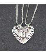 2pcs BONNIE CLYDE Pendant Necklaces keychain Guns Heart Friendship Adven... - £6.03 GBP