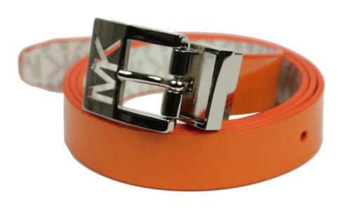 Michael Kors MK Women's Premium Logo Reverisble Belt White & Orange 552501