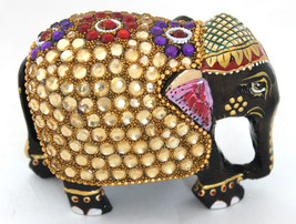 Wooden Elephant Handmade Statue Painted & Zircon Work Figurine for Home ... - $22.89