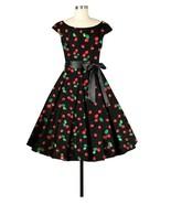 Black Red Cherry Rockabilly Retro 1950s Swing Dress Vintage 50s Pin Up P... - $57.51