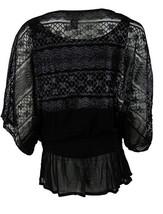Alfani Women's Metallic Dolman Lace Top - XS - Deep Black/Silver - Free Shipping - $18.98