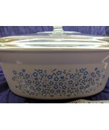 Corning Ware Blue Heather Flowers 2.5 qt Oval Casserole Dish DC-2.5-B w/... - $34.65