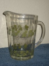 Vintage 2 Quart Clear Glass Pitcher with Green & Gold Leaves & Grapes - $8.56