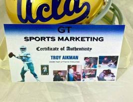 TROY AIKMAN / NFL HALL OF FAME / AUTOGRAPHED UCLA LOGO MINI HELMET / PLAYER COA image 7