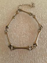 Vintage Silver Tone Long Bone Link Bracelet Or Anklet  - $10.00
