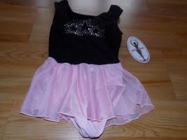 Girls Size Medium 8-10 Jacques Moret Black Pink Skirted Dance Gymnastics... - $18.00