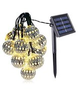 K.T. Fancy Warm White Led Silver Globe Moroccan Ball Solar String Lights... - $13.81
