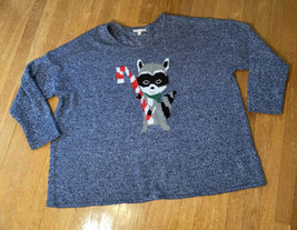 Woman Within Sweater Racoon And Candy Cane Blue 4X - $14.52