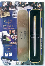 Parker Frontier Steel  Roller Ball  With Gold Clip - $19.80