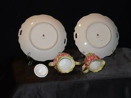 Green Red Floral cream and sugar with lid plus two plates Lefton NE 719 AA19-158 image 8