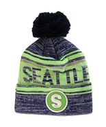 Seattle S Patch Fade Out Cuffed Knit Winter Pom Beanie Hat (Navy/Green) - $11.95