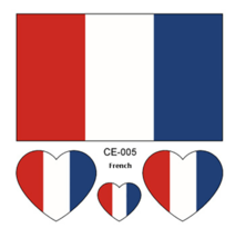 set Flag Tattoo Stickers Heart-shaped on Face Figure French World Cup 20... - $23.00