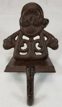Cast Iron Santa Claus Stocking Holder Primitive Look - $17.99