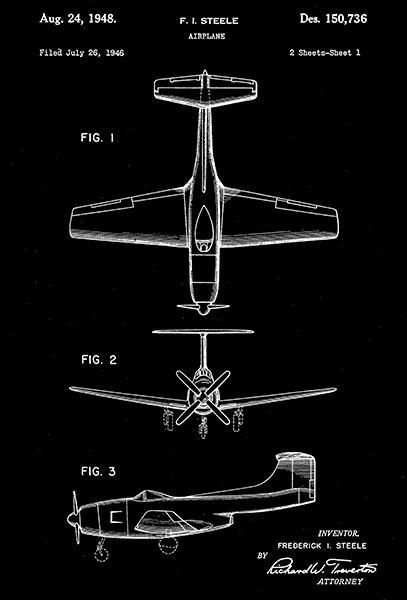 Primary image for 1948 - Curtiss-Wright Airplane - F. I. Steele - Patent Art Poster