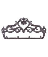 "Cast Iron Wall Hook Rack Ornate Victorian 4 Key Hooks 12"" Wide Hang Coat... - $19.79"