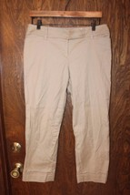 W10307 womens ANN TAYLOR LOFT khaki tan STRETCH CROPPED capri MARISA pan... - $14.50