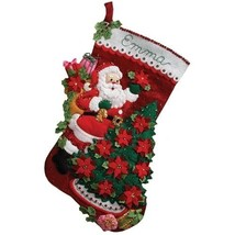 Bucilla 18-Inch Christmas Stocking Felt Applique Kit, 86142 Santa Poinse... - $101.29