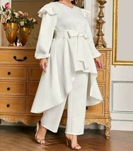 2Pcs Co-Ord Set V-Neck Ruffle Trim Bishop Sleeve Belted Top Pants Trouse... - $73.79