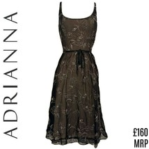 Adrianna Dress Silk Black Papell Belt Tissue Special Occasion Formal Siz... - $54.83