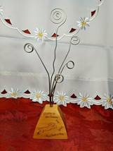 Vintage Desktop Letter/Bill Holder SILVERTONE Wire Coil Happy is the Home .. Dog