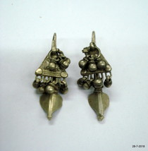 vintage antique ethnic tribal old silver earrings belly dnace gypsy jewelry - $117.81