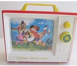 Fisher Price Giant Screen Music Box TV Two Tune Stories Mattel Classic T... - $10.88