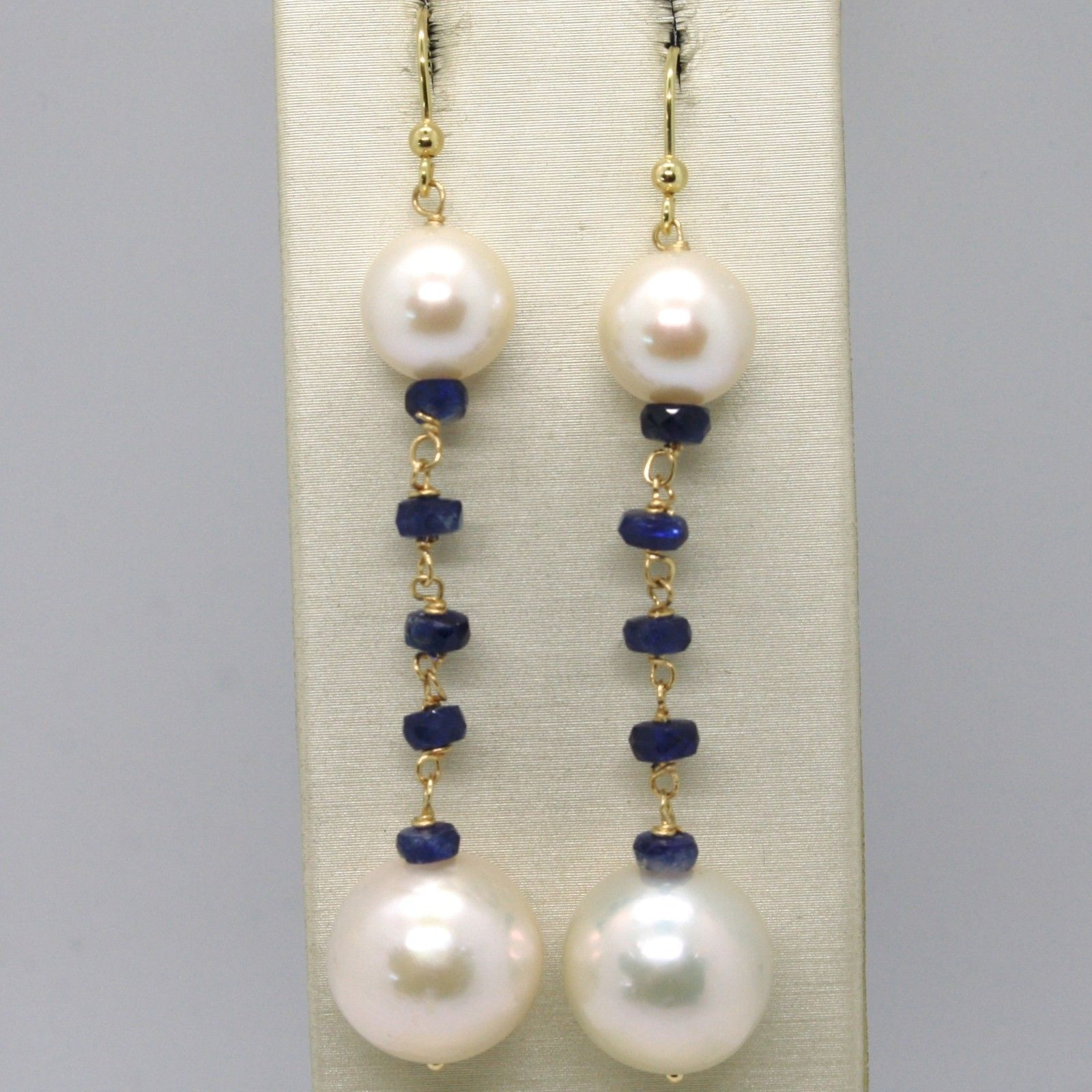 18K YELLOW GOLD PENDANT EARRINGS WITH FACETED SAPPHIRE & PEARL, MADE IN ITALY