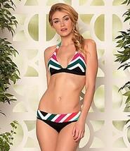 NWT BECCA Rebecca Virtue M bikini swimsuit Chevron stripe print bold halter Sexy - $62.07