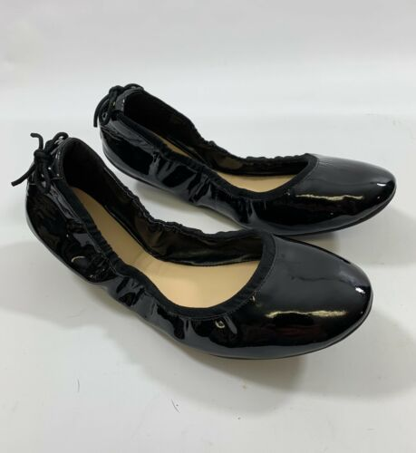 Cole Haan Womens sz 9  Black Patent Leather Heel Bow Ballet Flat Comfort Shoes